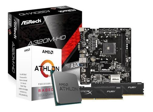 Kit Processador Athlon 3000g Asrock A320m-hd 2x8gb Hx Fury