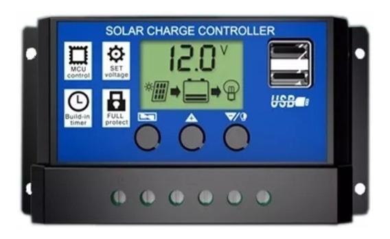 Controlador Solar Carga Pwm Lcd 30a Usb Regulador Automático