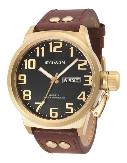Relógio Magnum Analógico Masculino Dourado Couro Ma32952p