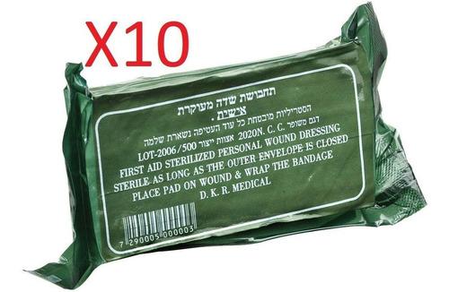Paquete Con 10 Vendas Tipo Israeli Uso Militar Civil 10x10cm