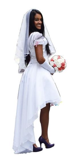 Vestido Casamento Festa Noiva Caipira Mullet + Luva+véu