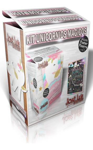 Kit Imprimible Unicornios Arcoiris Pastel Editable Pizarra