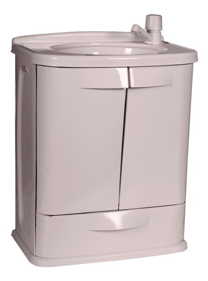 Gabinete Para Banheiro Com Pia Plastico Cinza Gabfit Astra