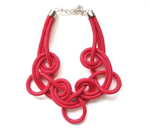 Colar De Corda Loop Vermelho