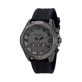 Mondaine Relógio Cronógrafo Texturizado 3d Silicone Preto