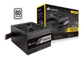 Fonte Gamer 600w Real Vs650 Corsair 80plus Pfc Ativo Atx Top