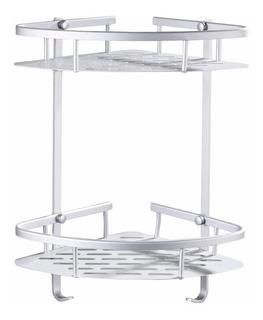Set Rack Organizador Baño Rinconero Aluminio 2 Estantes