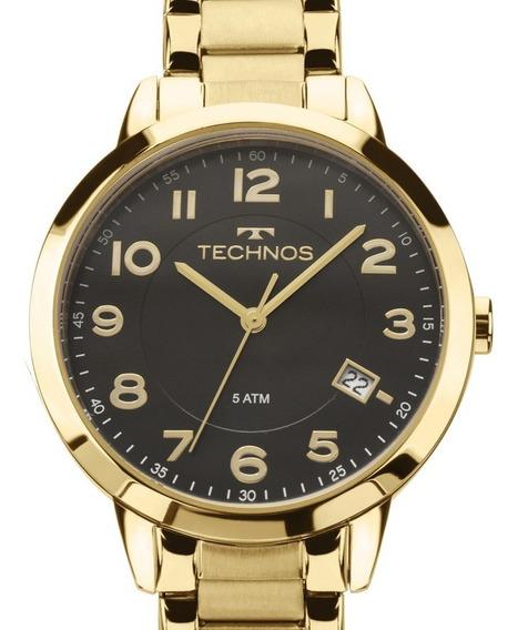Relógio Technos Feminino Dourado Fundo Preto