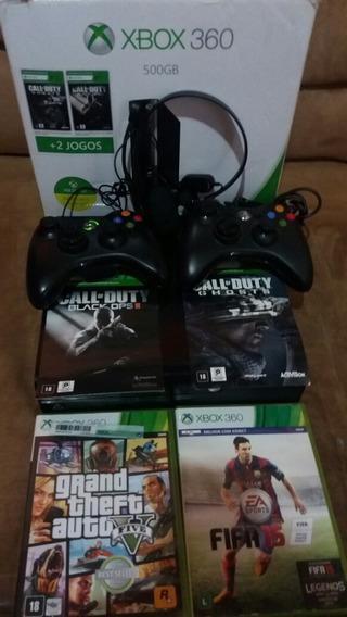 Console Xbox360 500gb + 4 Jogos Originais (valor A Negociar)