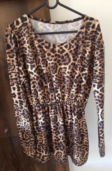 Camiseta Blusa Bata Feminina Em Onça - Frete Grátis