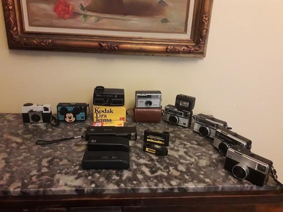 Coleção 11 Câmeras Kodak 1 Flash Kodalux 2 Cartuchos Filmes