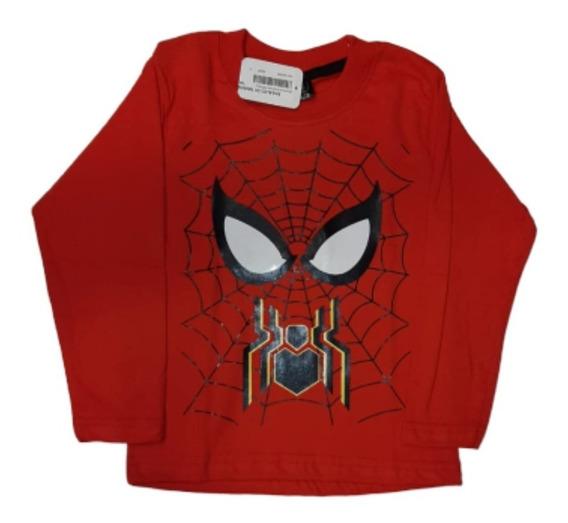 Remera Nene Invierno Superhéroes Spiderman Batman Star Wars