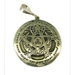 Pentagrama Celta Sobre A Lua - 3,5cm - Prata 950