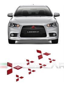 Kit 7 Adesivos Resinado Refletivo Vermelho Mitsubishi Lancer