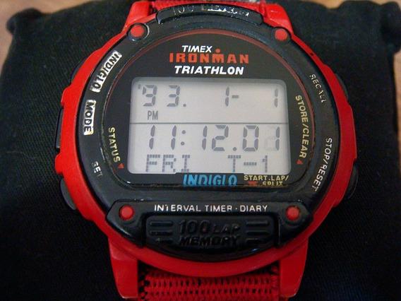 Raro Reloj Timex Ironman Triathlon Carcasa Roja.