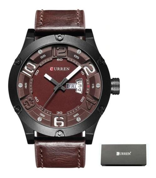 Relógio Masculino Curren 8251 Luxo Couro Com Estojo Promoção