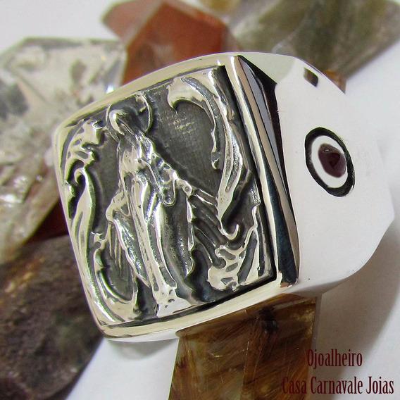 Anel Santa Mãe Protetora Safira Rubi Natural Prata Ojoalheir