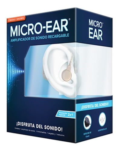 Imagen 1 de 7 de Micro-ear Amplificador Auditivo 2x1