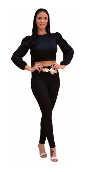 Conjunto Feminino Blusa Cropped E Calça Cinto De Cetim