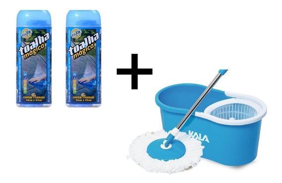 Spin Mop Azul Com Balde Kala + 2 Toalhas Mágica 66x43cm