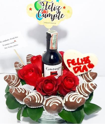 Arreglo Floral Cumpleaños Rosas Vino Pers Fresas Dom Gratis