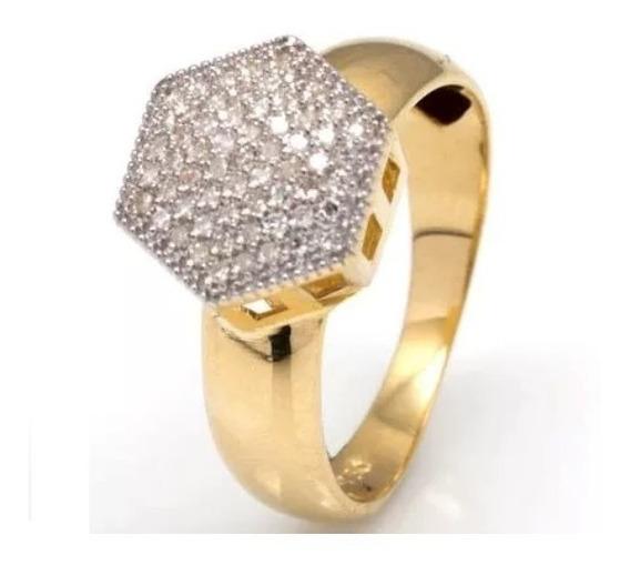 Anel Chuveiro Sextavado G De Ouro 18k/750 E Diamantes O13