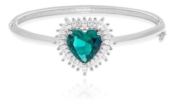 Pulseira Feminina Prata Cristal Grande Turmalina Coração Z23