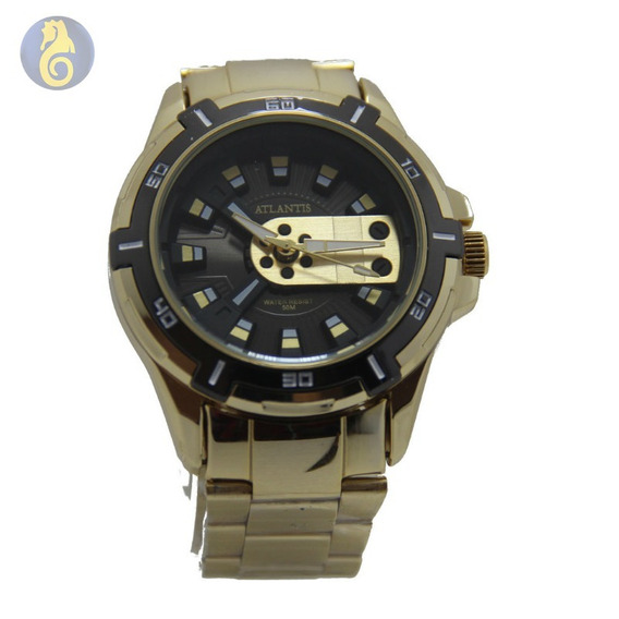 Relógio Original Masculino Sport Social Dourado Quartz Atlan