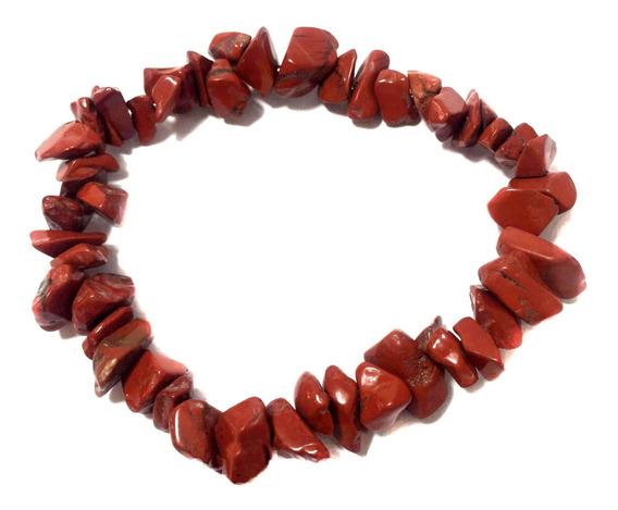 Pulseira Cascalho Pedra Natural Cristal Jaspe Vermelho