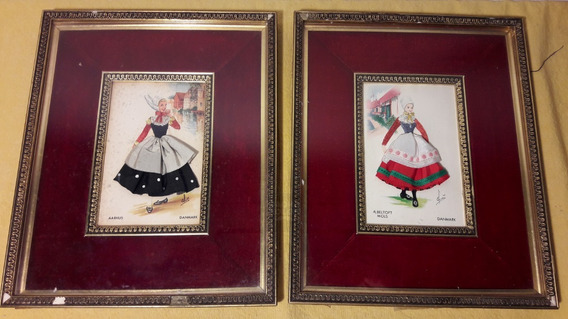 2 Antiguas Postales Españolas Bordadas De Elsi Gumier