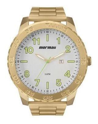 Relógio Masculino Mormaii Ref: Mo2115be/4b Big Case Dourado