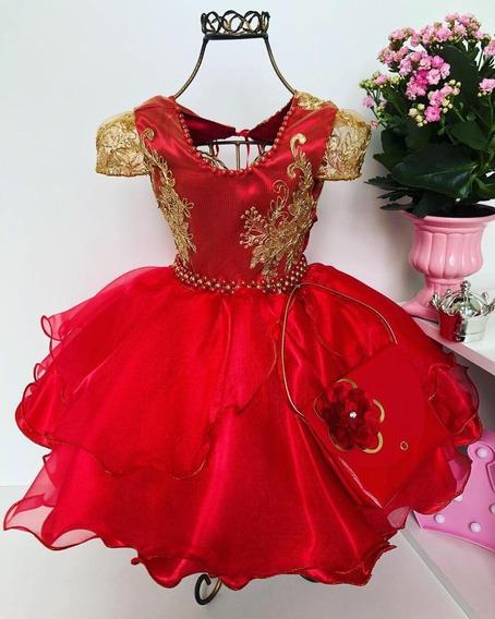 Vestido Luxo Vermelho Princesa Renda Com Bolsinha