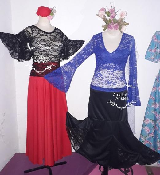 Blusa Remera Encaje Cuello Escote En V.danza.flamenco