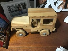 Carrinho Jeep Miniatura De Madeira