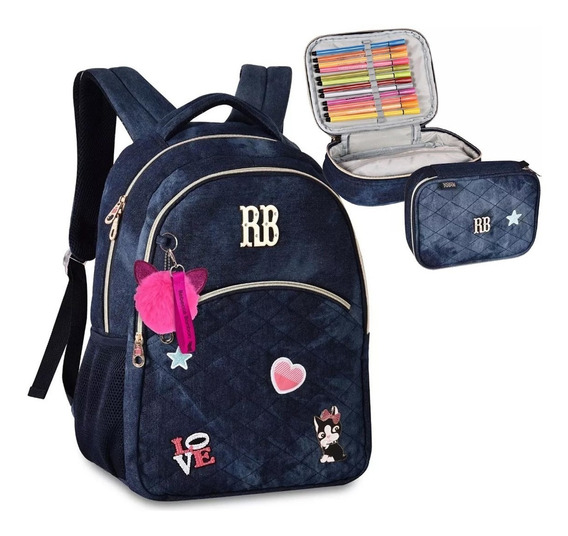 Kit Mochila Estojo Jeans Escolar Notebook Rebecca Bonbon