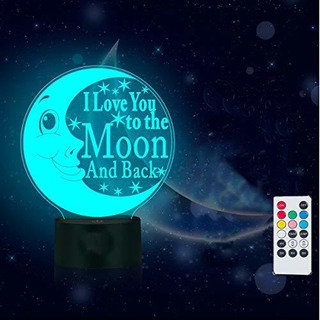 Te Amo A La Luna Y Negro Lamparas 3d Luz Nocturna Control Re