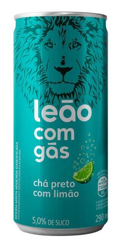 Chá Leão Com Gás Sabor Chá Preto Com Limão Lata 290ml