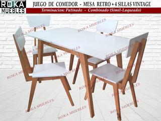 Juego Comedor Mesa Retro1.20+4 Sillas Vintage Patinado