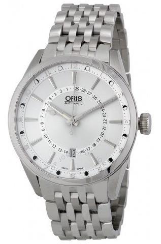 Relógio Suíço Oris Pointer Moonphase Prata Artix Automáto