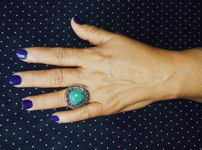 Anel Azul Turquesa Vintage Retrô Coração Prata Blogueira