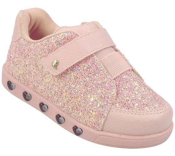Tenis Pampili Led Glitter Rosa Sneaker Infantil