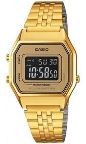 Relógio Casio La680wga-9bdf Retrô Quadrado Dourado- Refinado