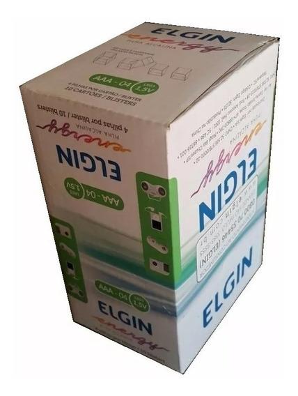 Caixa 10 Blister C/ 4 Pilha Alcalina Garantia Elgin Aaa Lr03