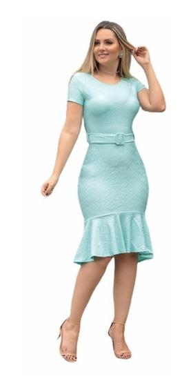 Vestido Feminino Midi Babado Moda Evangélica Social