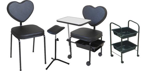 Cadeira Manicure +cliente +carrinho +tripé Kit Plus Love