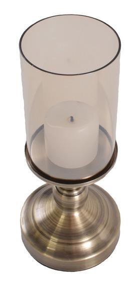 Luminária Para Vela Metal Ouro Velho Com Vidro De Proteção