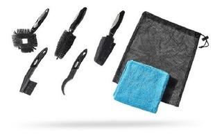 Kit De Limpeza Shimano Pro Com 5 Escovas E 1 Toalha