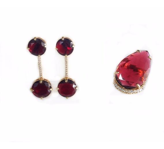 Semi Jóias Anel N°22 E Brinco Dourado Pedras Vermelhas