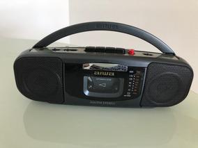 Mini Rádio Aiwa Stereo À Pilha / Grava E Toca Fita