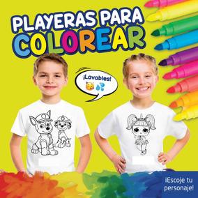 Playera De Niños Para Colorear, Pintar Incluye Plumones.